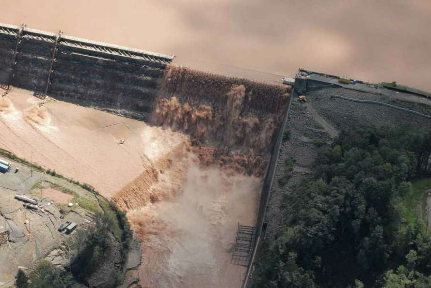 Water spills over the Gilboa Dam in Schohaire N.Y. Monday Aug. 29, 2011.  (Will Waldron / Times Unio