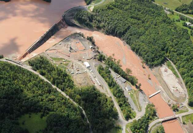 Water from the Schoharie Reservoir spills over the Gilboa Dam in Gilboa N.Y. Monday Aug. 29, 2011.  (Will Waldron / Times Union) Photo: Will Waldron
