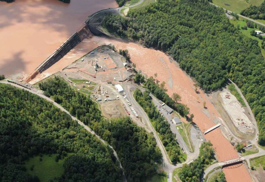 Water spills over the Gilboa Dam in Schohaire N.Y. Monday Aug. 29, 2011.  (Will Waldron / Times Union) Photo: Will Waldron
