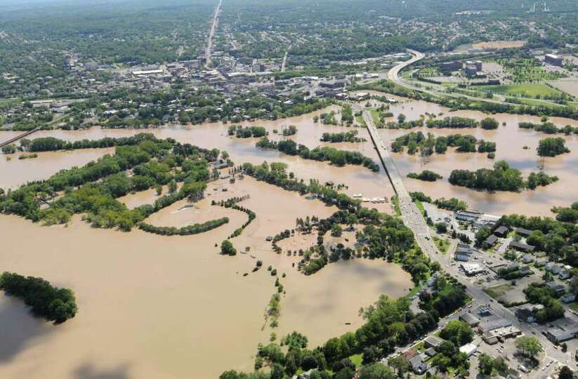 Aerial view of the flooding from the Mohawk River in Scotia N.Y. looking towards Schenectady, Monday