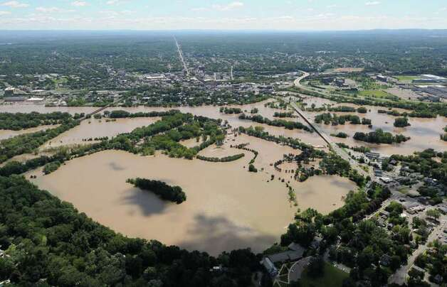 Aerial view of the flooding from the Mohawk River in Scotia N.Y. looking towards Schenectady, Monday Aug. 29, 2011.  (Will Waldron / Times Union) Photo: Will Waldron
