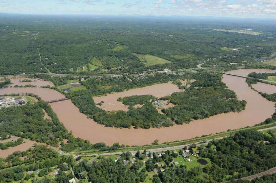 Aerial view of of the flooding from the Mohawk River west of Schenectady N.Y. Monday Aug. 29, 2011.  (Will Waldron / Times Union) Photo: Will Waldron
