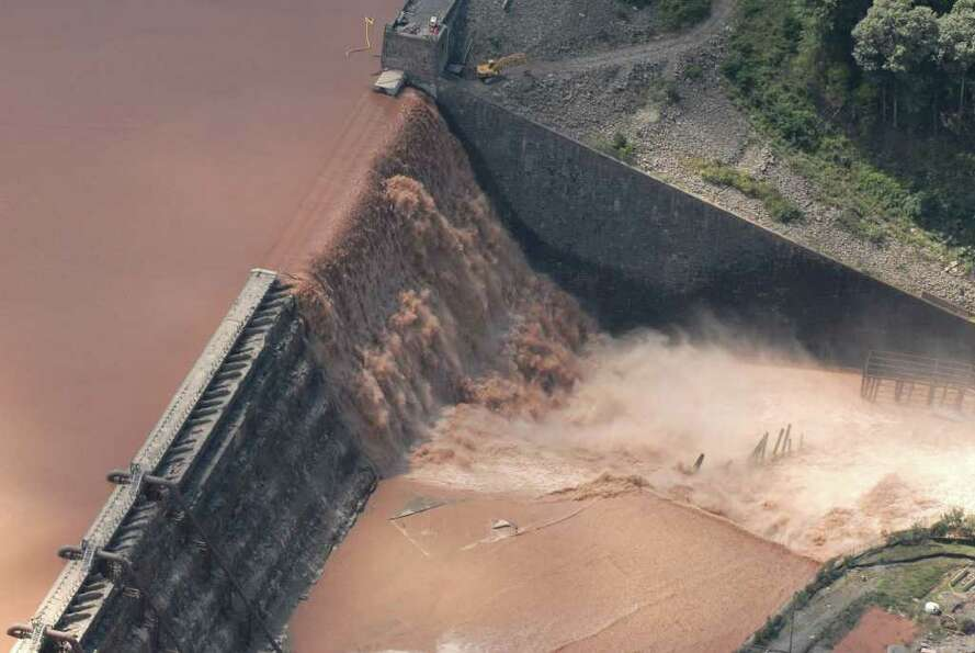 Water spills over the Gilboa Dam in Gilboa N.Y. Monday Aug. 29, 2011.  (Will Waldron / Times Union)