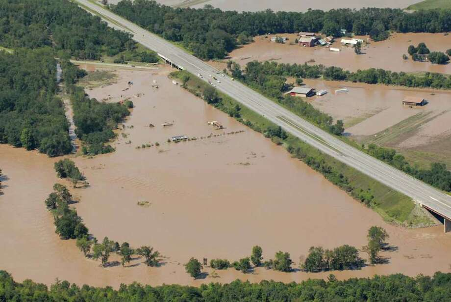 Portions of I-90 where closed in Schohaire N.Y. Monday Aug. 29, 2011 due to flooding on the Mohawk River.  (Will Waldron / Times Union) Photo: Will Waldron, Albany Times Union
