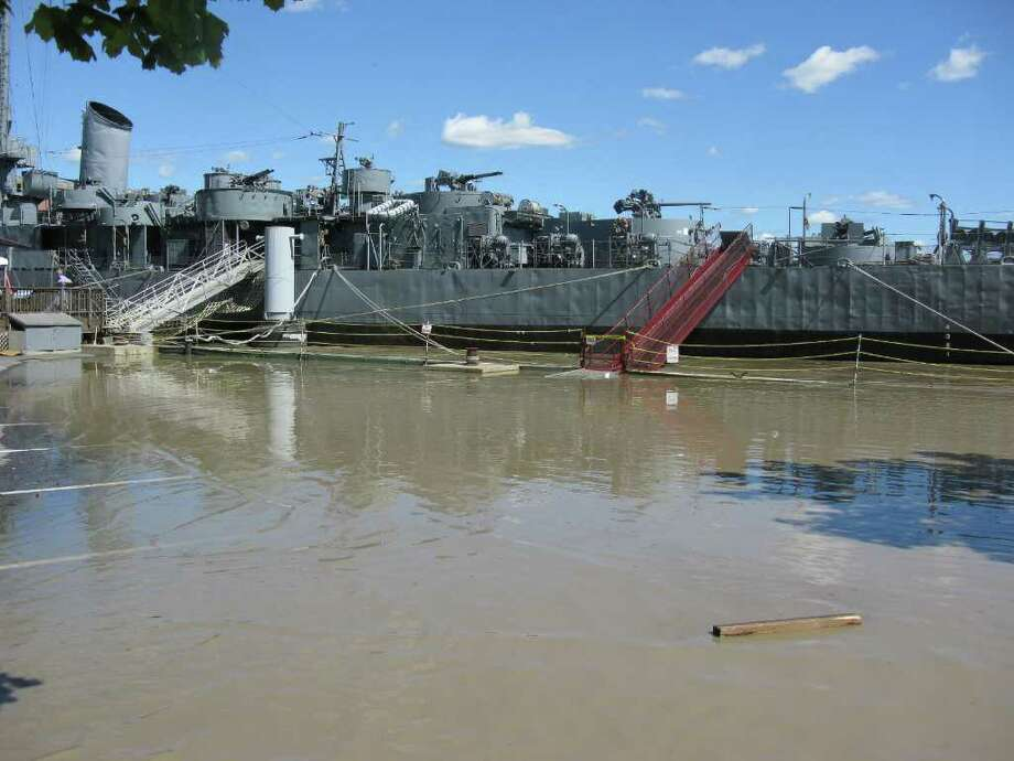 USS Slater riding high on the flooded Hudson River. Photo: Barry Witte