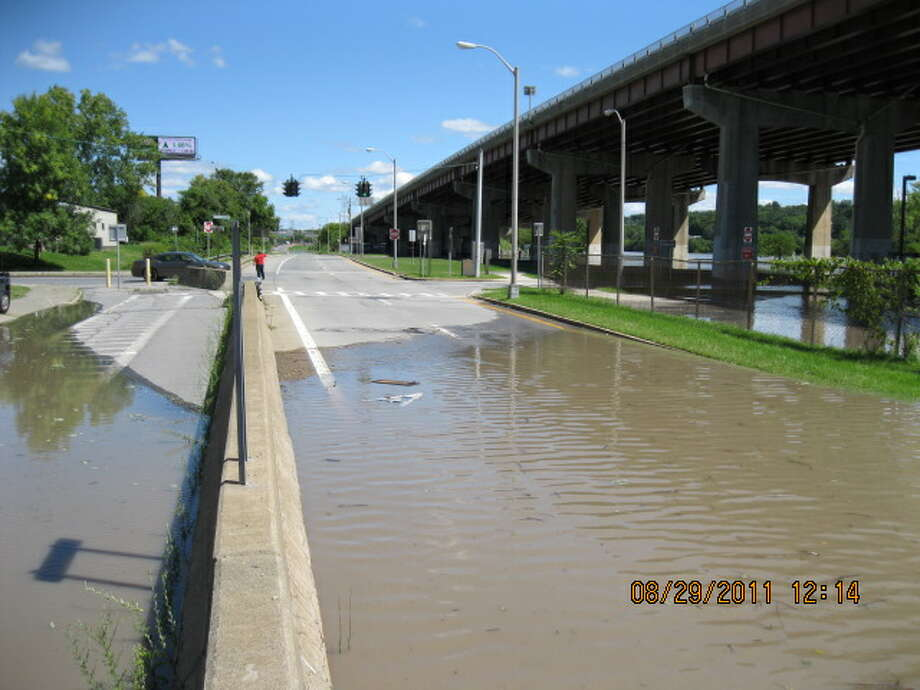 Looking north along flooded portion of Water Street, underneath the Amtrak bridge in downtown Albany. Photo: James Close