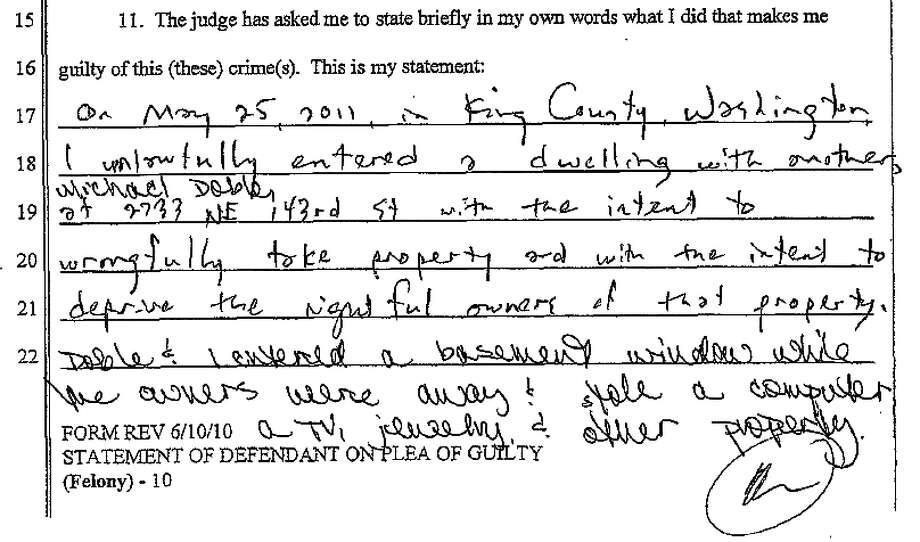 Part of Joshua Meadows-Mittenen's Aug. 8 guilty plea for residential burglary. Photo: King County Superior Court Document