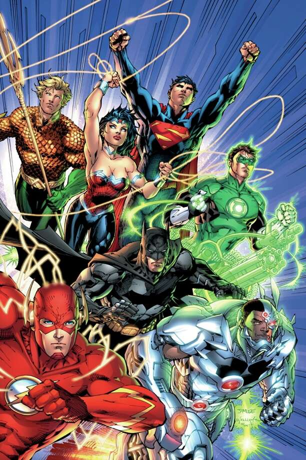 "In September, DC Comics relaunches its entire comic line in a new initiative called the New 52, which renumbers all 52 of its titles with new No. 1 issues. Pictured is cover art for ""Justice League"" No. 1, written by DC Entertainment chief creative officer Geoff Johns with art by DC Entertainment co-publisher Jim Lee."
