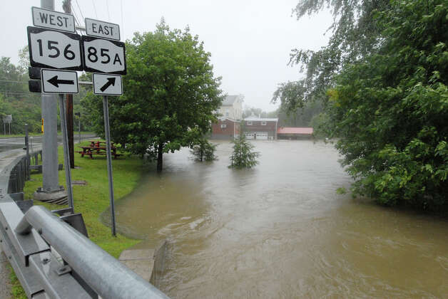 Flooding at Vly Creek in Voorheesville N.Y., Sunday afternoon Aug. 28, 2011. Tropical Storm Irene entered the Capital Region Sunday morning downing trees throughout Delmar, many are without power. (Will Waldron / Times Union) Photo: Will Waldron