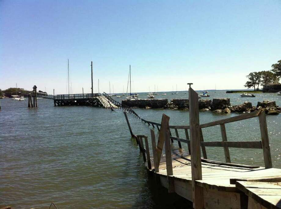 The pier at the Noroton Yacht Club was completely destroyed by Hurricane Irene. Photo: Ben Holbrook