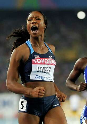 USA's Marshevet Myers reacts after placing second in a Women's 100m semifinal at the World Athletics Championships in Daegu, South Korea, Monday, Aug. 29, 2011. Photo: Anja Niedringhaus/Associated Press