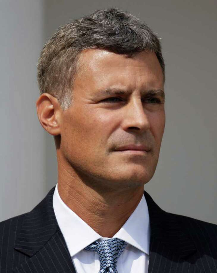 Alan Krueger stands by as he President Barack Obama, not seen, announces him as as chairman of the Council of Economic Advisers, Monday, Aug. 29, 2011, in the Rose Garden of the White House in Washington. (AP Photo/Carolyn Kaster) Photo: Carolyn Kaster, STF / AP