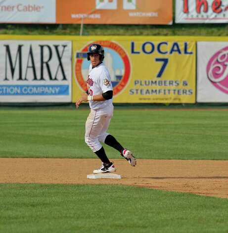 ValleyCats outfielder George Springer makes it safely to second base at the Spinners vs. the Tri-City ValleyCats game at Bruno Stadium, Troy, on Monday, Aug. 29, 2011. (Erin Colligan / Special To The Times Union)