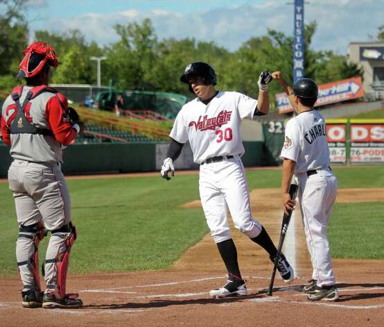 ValleyCats outfielder George Springer hits a home run in the bottom of the third inning at the Spinners vs. the Tri-City ValleyCats game at Bruno Stadium, Troy, on Monday, Aug. 29, 2011. (Erin Colligan / Special To The Times Union)