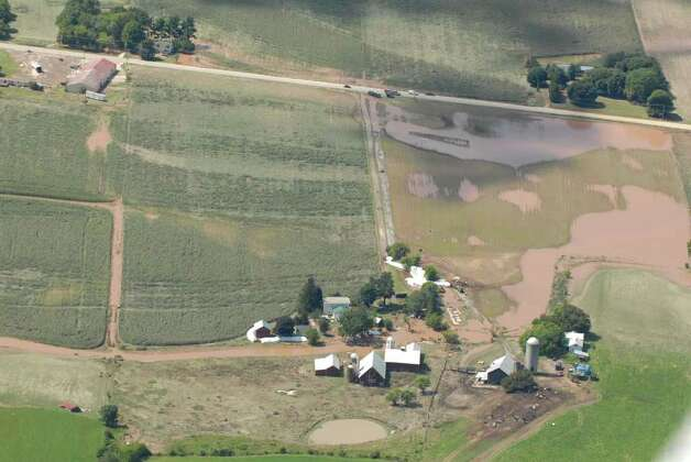 Flooded farm fields outside of Schohaire N.Y. Monday Aug. 29, 2011.  (Will Waldron / Times Union) Photo: Will Waldron