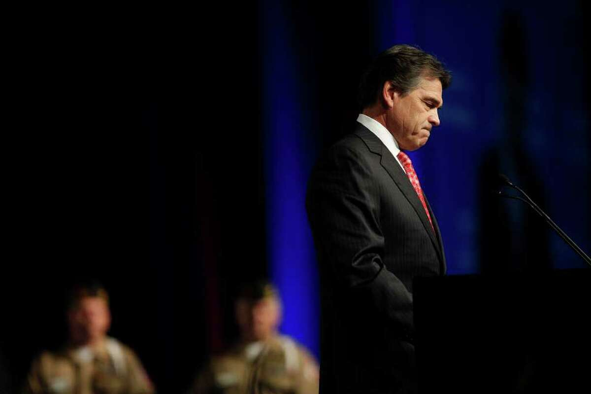 Governor Rick Perry speaks at the Veterans of Foreign Wars National Convention at the Henry B. Gonzalez Convention Center in San Antonio on Monday, August 29, 2011.
