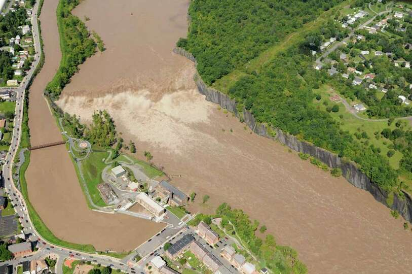 Aerial view of of the Cohoes Falls in Cohoes N.Y. Monday Aug. 29, 2011.  (Will Waldron / Times Union