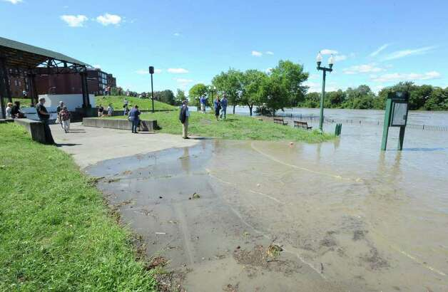 Riverfront Park is flooded from water which overflowed from the Hudson River in Troy, N.Y. on Monday, Aug. 29, 2011. Hurricane Irene caused major damage and flooding in the Capital District. (Lori Van Buren / Times Union) Photo: Lori Van Buren