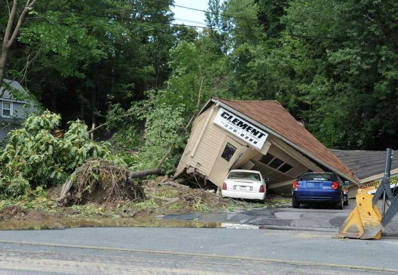Several houses along Rt. 2 were destroyed by a landslide in Troy, N.Y. on Monday, Aug. 29, 2011. Hur