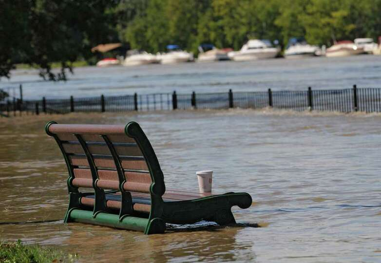 Riverfront Park is flooded from water which overflowed from the Hudson River in Troy, N.Y. on Monday