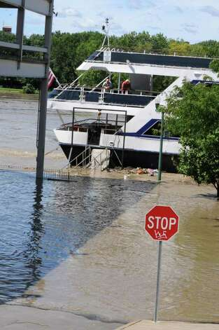 The cruise chip is stranded at the end of State St.  from water which overflowed from the Hudson River in Troy, N.Y. on Monday, Aug. 29, 2011. Hurricane Irene caused major damage and flooding in the Capital District. (Lori Van Buren / Times Union) Photo: Lori Van Buren