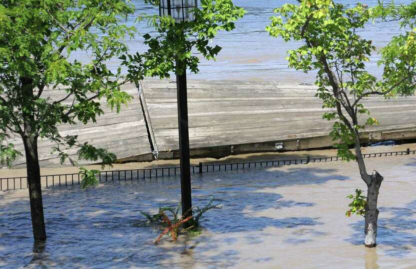 Docks behind Ryan's Wake are broken and flooded from water which overflowed from the Hudson River in