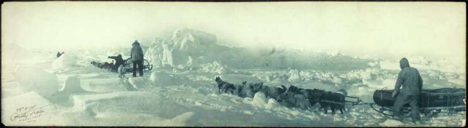 """A photo by American explorer Anthony Fiala taken during the Ziegler Polar Expedition, on view as part of """"Last Frontiers: Anthony Fiala and the Race to the North Pole"""" and """"Aims, Hopes and Endeavors: An Art Installation by Heddi Vaughan Siebel"""" at the Stamford Museum and Nature Center. Photo: Contributed Photo"""