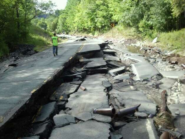 Route 2 between Cropseyville and Grafton was heavily damaged by flooding from Tropical Storm Irene. Rensselaer County officials say long stretches of the road, a busy artery for the county, were badly damaged. (Courtesy: DARLENE DZIARCAK)