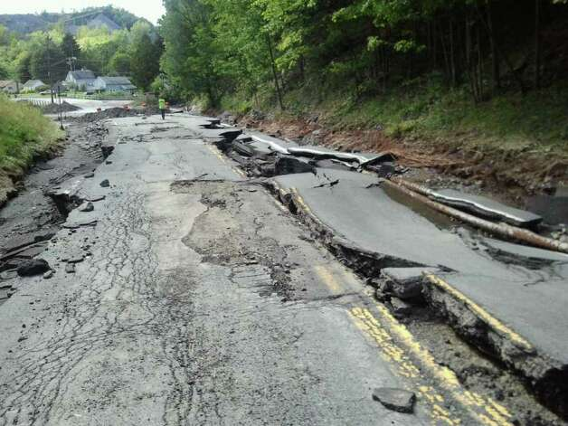Route 2 between Cropseyville and Grafton was heavily damaged by flooding from Tropical Storm Irene. Rensselaer County officials say long stretches of the road, a busy artery for the county, were badly damaged. (Courtesy Darlene Dziarcak)