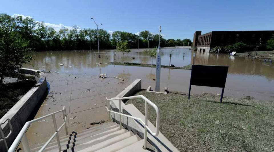 Schenectady County Community College's parking area is shown, under water from Tropical Storm Irene,