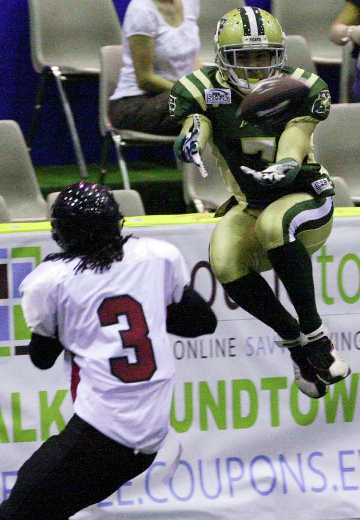 Former Holmes and Baylor standout Robert Quiroga, shown playing for the Austin Turfcats in 2009, is a free agent after catching 126 passes for the AFL's Orlando Predators last season.