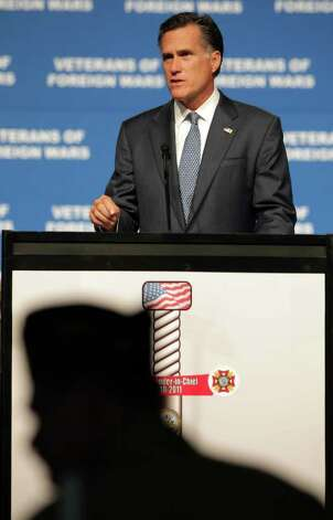 Presidential candidate Mitt Romney speaks to veterans at the VFW National Convention at the Convention Center, Tuesday, August 30, 2011. Photo: BOB OWEN, Bob Owen/rowen@express-news.net / rowen@express-news.net