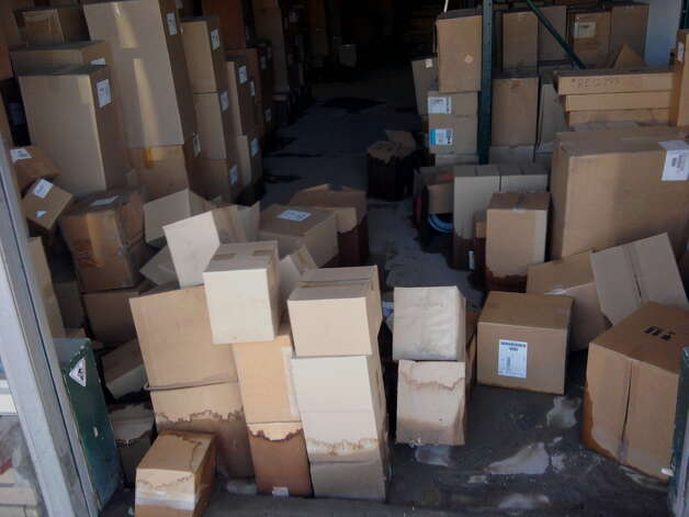 Several boxes and supplies at Capitaland Truck Parts on  Main Street in Rotterdam Junction were damaged by flooding. (Paul Nelson/Times Union)