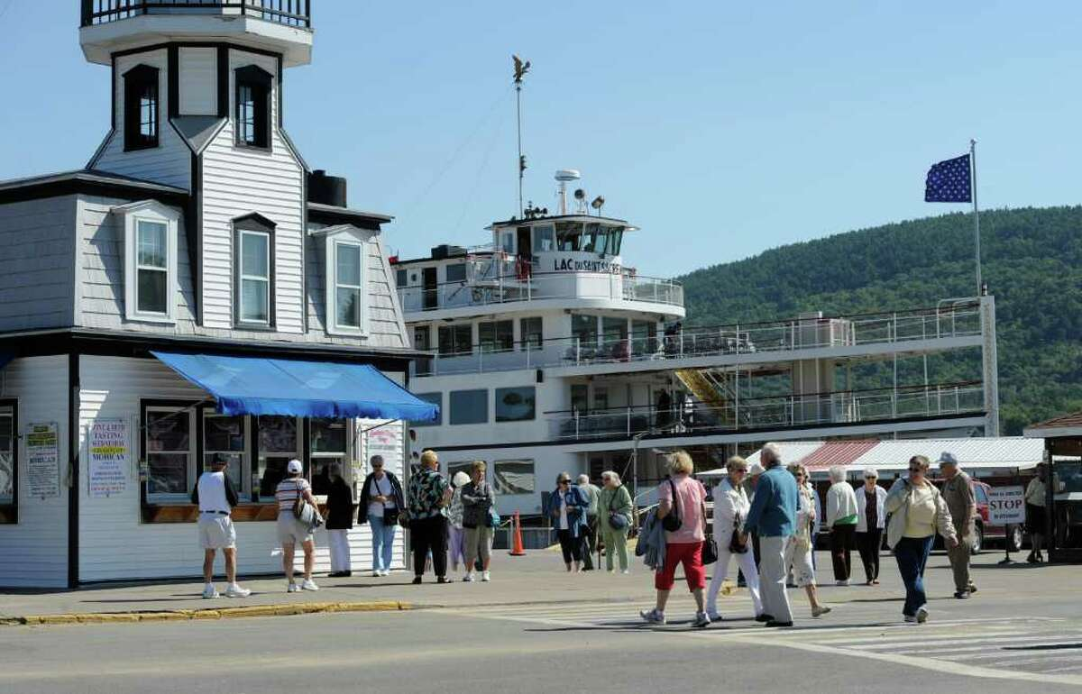 Tourists queue up near the Lake George Steamboat Company ships in Lake George Village, N.Y. Aug 30, 2011. (Skip Dickstein/ Times Union)