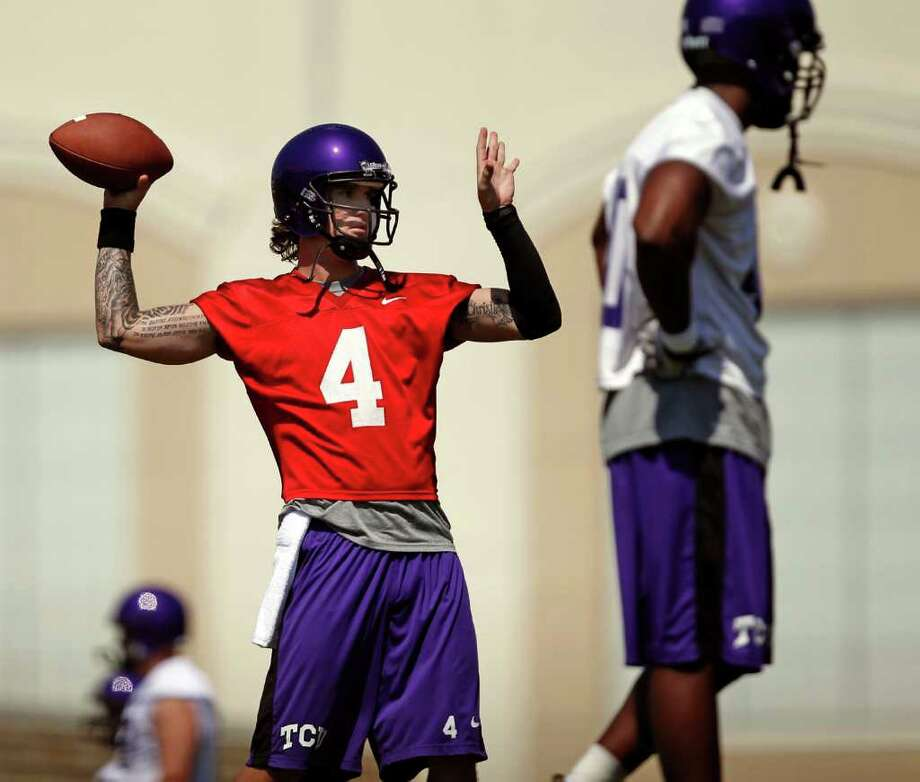 TCU sophomore quarterback Casey Pachall (4) will be counted on to fill the big shoes left by the departure of predecessor Andy Dalton. Photo: Ron Jenkins, Associated Press / Fort Worth Star-Telegram Ron Jenkins