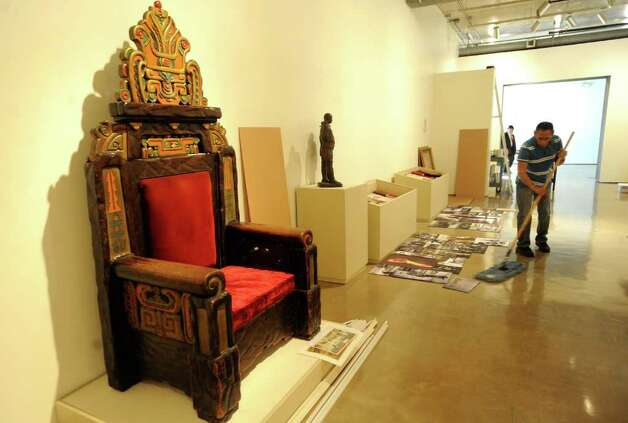A 1920s throne from the Aztec Theater on St. Mary�s Street is an example of artistic influence that Mexico had on San Antonio in the period during and after the revoution. The chair is part of the Revolution & Renaissance: Mexico & San Antonio 1910 - 2010 exhibition at Museo Alameda, which opens on November 20. BILLY CALZADA / gcalzada@express-news.net Photo: BILLY CALZADA, Express-News / SAN ANTONIO EXPRESS-NEWS
