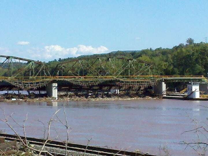 Lock 10 in the town of Amsterdam shows signs of flooding that filled the Mohawk River after Tropical