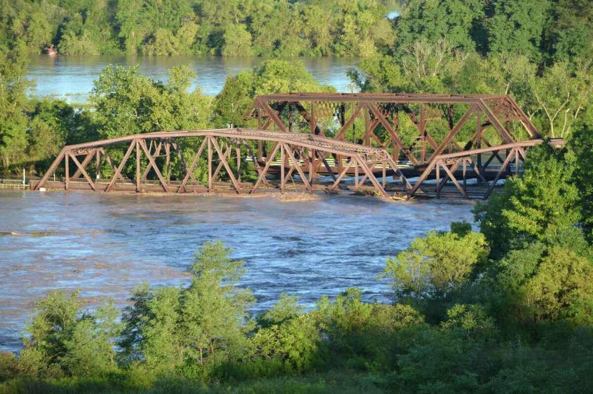 The bridge over Schoharie Creek at Route 5s near Fort Hunter, Monday morning, Aug. 29, 2011. (John Van Heusen)
