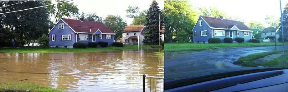 The picture on the left, at 120th and 1st Avenue in Lansingburgh, was taken during the flood Monday around 4 p.m.  The one on the right is Tuesday morning. (Stephanie Jones)