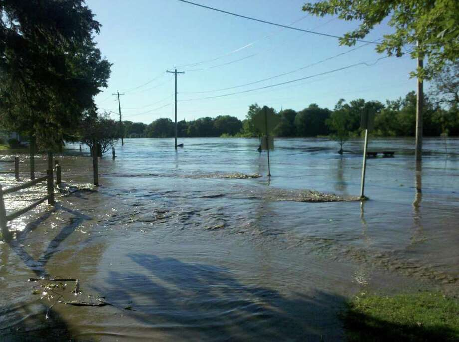 The access road to Collins Park in Scotia became a river. (Kimberly Schaffer)