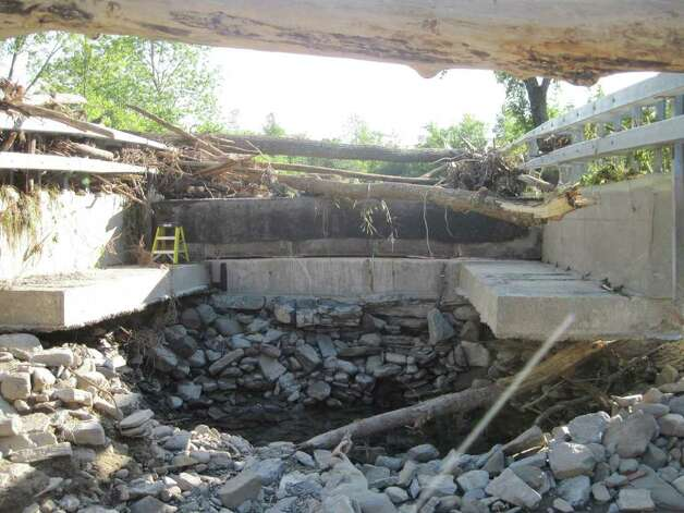 The inside of a washed out bridge between Schultz Road and Route 443 in Schoharie. (Jennifer Patterson)