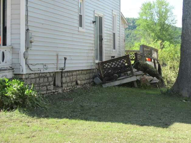 Homes damaged by Hurricane Irene and flooding in the village of Schoharie.