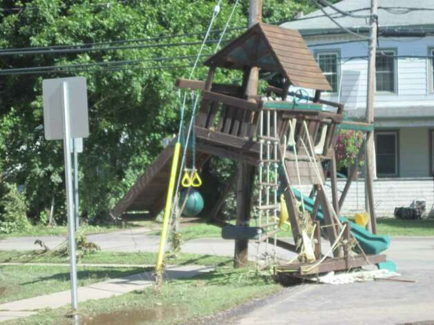 A swingset came to rest on a utility pole on Main Street in the village of Schoharie after historic flooding caused by Hurricane Irene. (Jennifer Patterson)