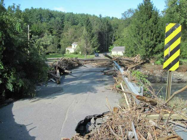 A bridge connecting Route 443 and Sholtes Road in Schoharie was washed out by historic flood waters caused by Hurricane Irene. (Christopher Lisio)