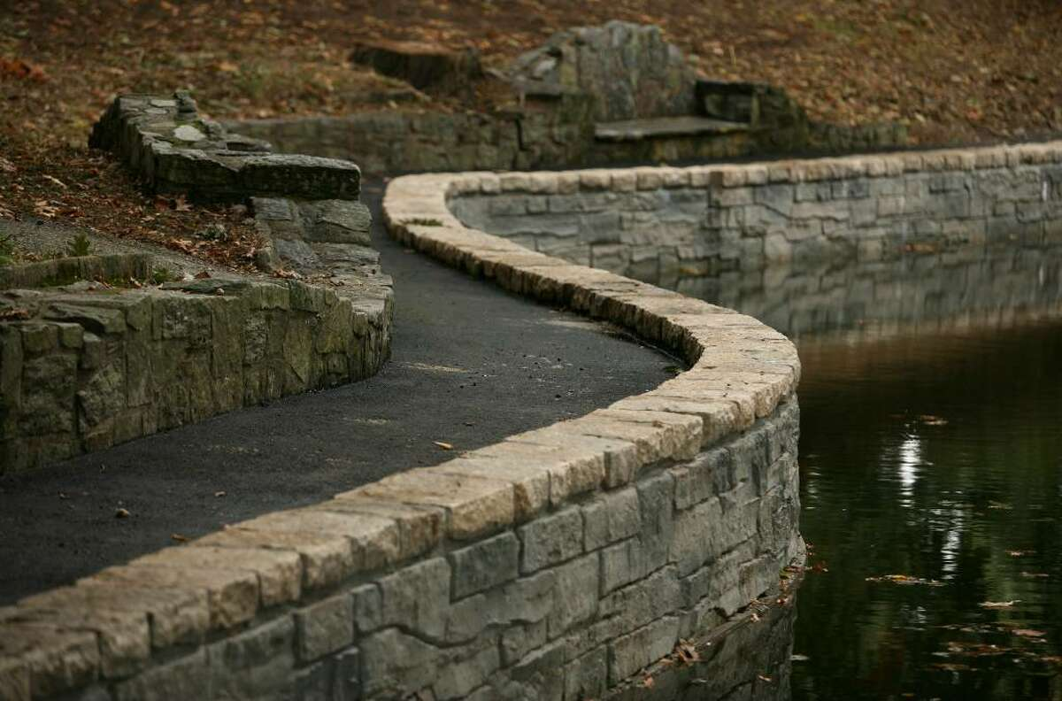 One of the new retaining walls at Longbrook Park in Stratford.