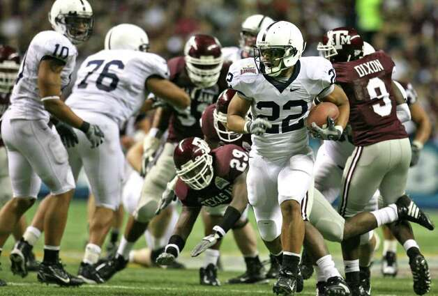 FOR SPORTS -   Penn State's  Evan Royster sneaks away for the winning touchdown against A&M in the alamo Bowl. during first half actiton of the Valero Alamobowl Saturday Dec. 29, 2007 at the Alamodome.  (PHOTO BY TOM REEL/STAFF) Photo: TOM REEL, SAEN / SAN ANTONIO EXPRESS-NEWS