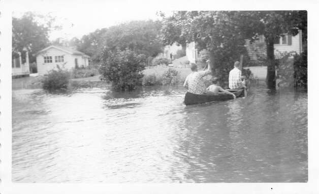 The Hickory Bluffs neighborhood in Norwalk is flooded during Hurricane Carol in 1954. Photo: Courtesy Of The Norwalk Museum
