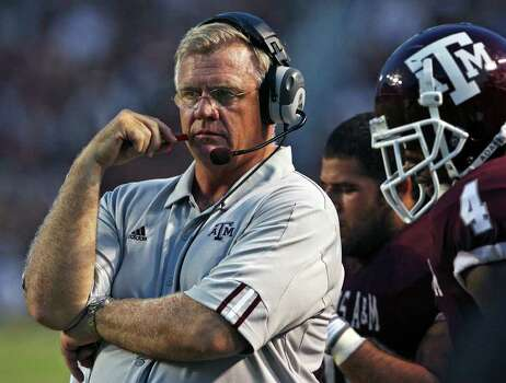 Aggies head coach Mike Sherman watches his team sputter in the second half as Texas A&M loses to Arkansas State 18-14 at Kyle Field in College Station on August 30, 2008. Photo: TOM REEL, SAEN / treel@express-news.net