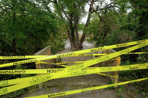 Caution tape blocks the entrance to Rotterdam Kiwanis Park following flooding in Rotterdam Junction Wednesday Aug. 31, 2011.( Michael P. Farrell/Times Union) Photo: Michael P. Farrell