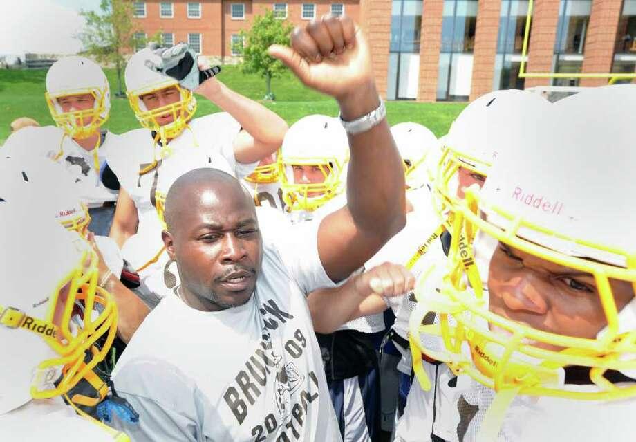 Brunswick School head football coach, Jarrett Shine, center, during practice at Brunswick School in Greenwich, Wednesday afternoon, Aug. 31, 2011. Photo: Bob Luckey / Greenwich Time